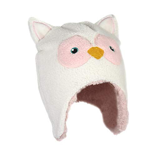 Chenille Soft Husky Dog Beanie Stretchy Winter Critter Peruvian Fleece Trapper Hat with Ears for Toddlers and Children (White and Pink Owl) ()