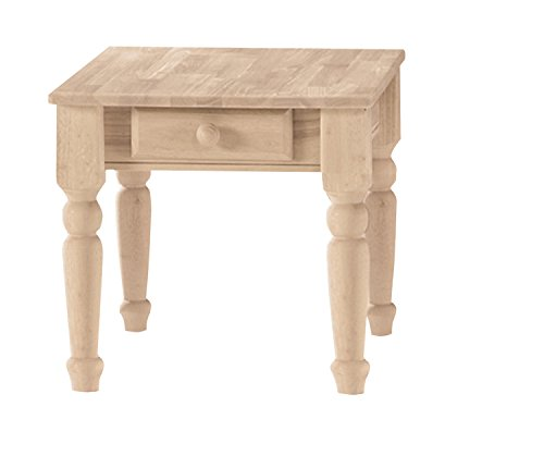 Unfinished Wood End Table (International Concepts BJ7TE Traditional End Table, Unfinished)