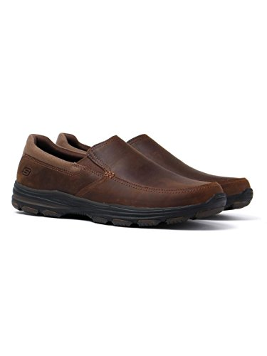 Skechers Garton Venco Dark Brown Leather Loafers Braun