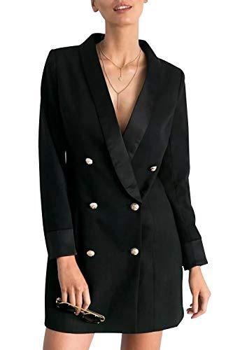 VERO VIVA Womens Business Double Breasted V-Neck Longline Plus Size Blazer Coat(XL,Black)