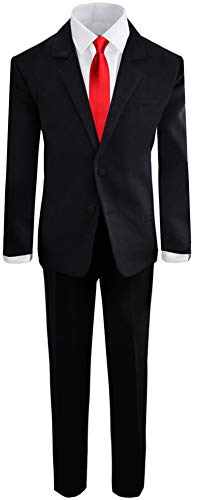 Bianchi Tuxedo - Black N Bianco Boys Formal Black Suit with Shirt and Vest (14, Black with Red Tie)