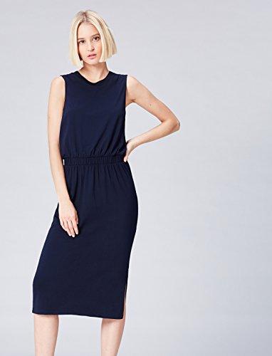 FIND Vestido Largo Medio sin Mangas con Cintura Fruncida para Mujer Azul (Navy)