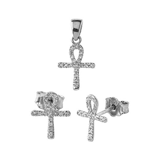 Diamond Key Accented Pendant (Exquisite 14k White Gold Mini Diamond Ankh Cross Pendant and Earrings Set)
