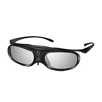 Pack 1 Elikliv 3D Glasses Active Shutter DLP Link Clip On Detachable Frame for Myopia Compatible With Optoma Benq Sharp Acer Samsung Projector