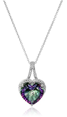 Sterling Silver Mystic Fire Topaz and Diamond Accent Heart Pendant Necklace, 18""