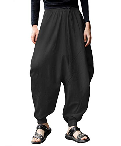 PERDONTOO Men's Casual Elastic Waist Baggy Hippie Yoga Harem Pants (34, Black)