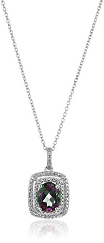 Sterling Silver Mystic Fire Topaz and Diamond Cushion Pendant Necklace, 18