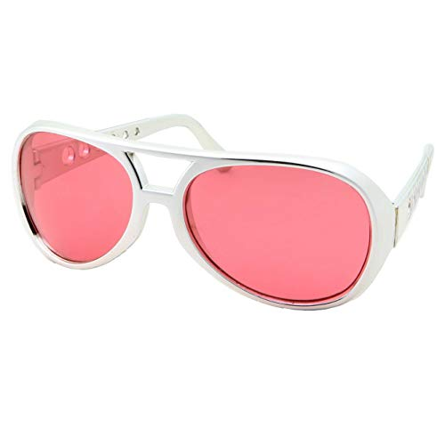 50's 60's Rock Star Sunglasses - Elvis Style Aviator Glasses - Mens Costume (Silver Frame, Red ()