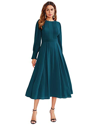 Milumia Women's Elegant Frilled Long Sleeve Pleated Fit & Flare Dress Green-1 Small ()