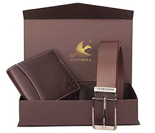 HORNBULL Men's Leather Brown Wallet and Belt Combo – BW9295