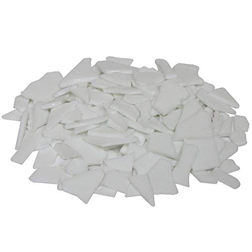 Ceramic Stained Glass Mosaic Tiles - Milltown Merchants™ White Stained Glass Pieces 1 lb - Opaque Stained Glass Cobbles - Broken Glass Chips for Stepping Stones and Crafts - Bright Color Glass Coblets