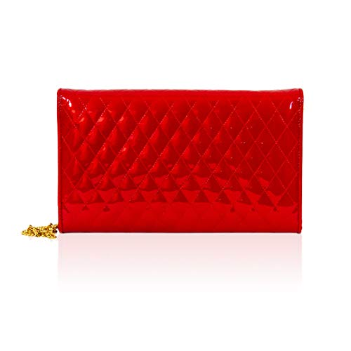 grande Orlandi Red acolchado embrague con italiano Cartera Diseador cuero Valentino de cadena adqza