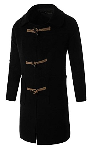 M&S&W Men's Winter Horns Button Trench Coat Woolen Outwear Black