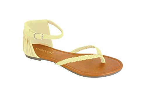 ShoeVibe Women Ronia Flat Braided Toe Thong Sandal With Fringed Back