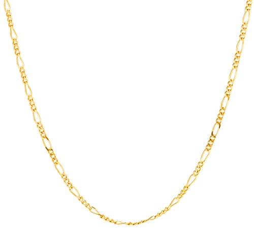 Lifetime Jewelry Figaro Chain 1.5MM, 24K Gold with Inlaid Bronze, Premium Fashion Jewelry, Pendant Necklace Made Thin for Charms, Guaranteed for Life, 18 Inches ()