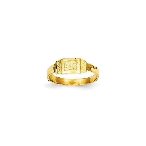 14K Rectangle Baby Ring, Size: 3, 14 kt Yellow Gold