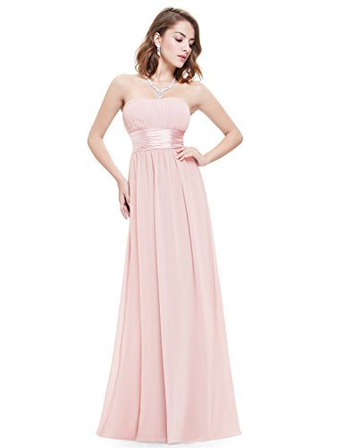 Ever-Pretty Womens Chiffon Ruched Bust Satin Empire Waist Maxi Dress 10 US (Empire Strapless Short)