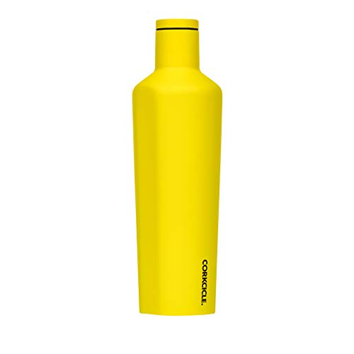 Corkcicle Canteen Neon Lights Collection - Water Bottle & Thermos - Triple Insulated Shatterproof Stainless Steel, Neon Yellow, 25oz]()