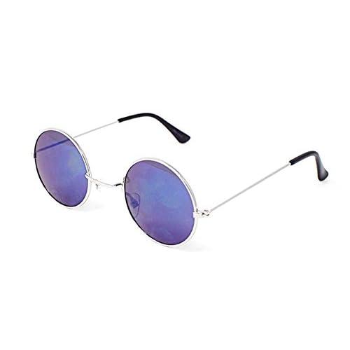 07a16398be Ultra Plata Con Azul Espejada Lentes Adultos Retro Redondas Gafas de Sol  Pequeñas Estilo John Lennon