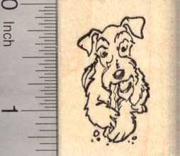 Schnauzer Natural (Schnauzer Dog with Natural Ears Rubber Stamp, with Chew Toy)