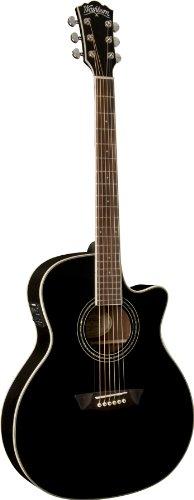 Washburn USM-WCG18CEB Comfort Series Acoustic Electric Guitar, (Washburn Black Guitar)