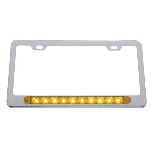 United Pacific 39755 Chrome License Plate Frame w// 10 9 Light Bar LED//Amber Lens