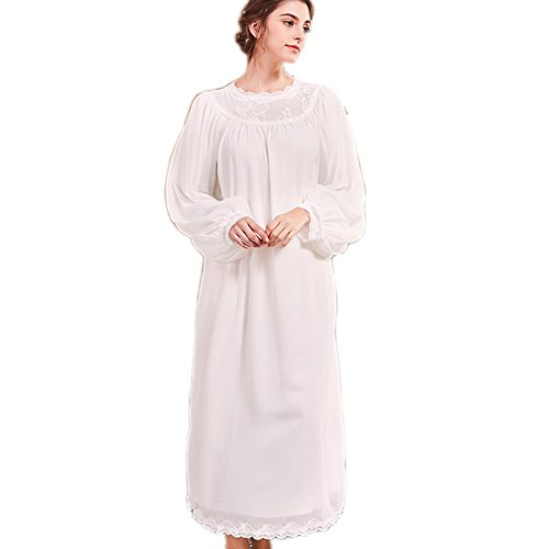 Women's Long Sheer Vintage Victorian Nightgown Cotton Sleepwear Nightshirt Lounge Dress Pajamas (Large)