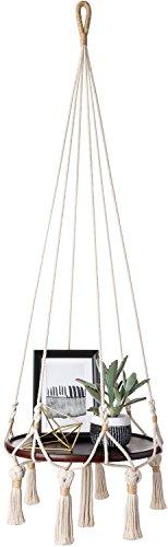 - Mkono Hanging Shelf Macrame Plant Hanger Flower Pot Holder Boho Home Decor (with Wood Plate)