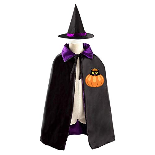 69PF-1 Halloween Cape Matching Witch Hat Black Cat Pumpkin Wizard Cloak Masquerade Cosplay Custume Robe Kids/Boy/Girl Gift Purple