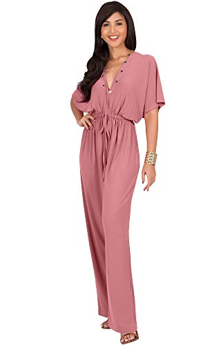 KOH KOH Petite Womens Short Kimono Sleeve V-Neck Casual Sexy Wide Leg Long Pants One Piece Jumpsuit Jumpsuits Pant Suit Suits Romper Rompers Playsuit, Cinnamon Rose Pink S 4-6