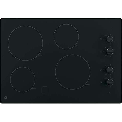 GE JP3030DJBB 30 Inch Smoothtop Electric Cooktop with 4 Radiant Elements, Knob Controls, Keep Warm Melt Setting by...