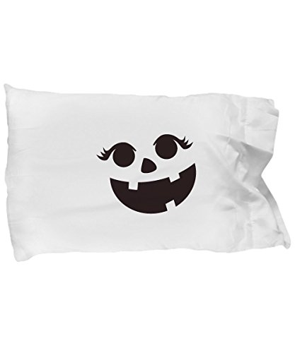 Pillow Covers Design Pumpkin Face Eyelashes Halloween Costume Funny Gift Pillow Cover -