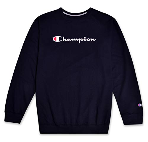 (Champion Mens Big and Tall Crewneck Pullover French Terry Sweatshirt with Script Logo Navy 3X)