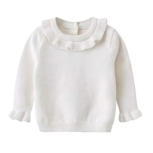 (Auro Mesa Baby Girl Winter Clothes,White Sweater Toddler Little Girls Sweater Knit Ruffles (12-18M(80cm)))