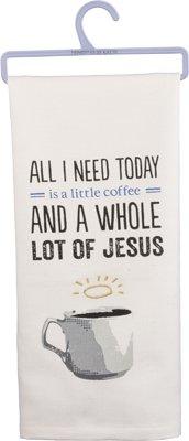 ''Coffee & Jesus'' Cotton Dish Towel