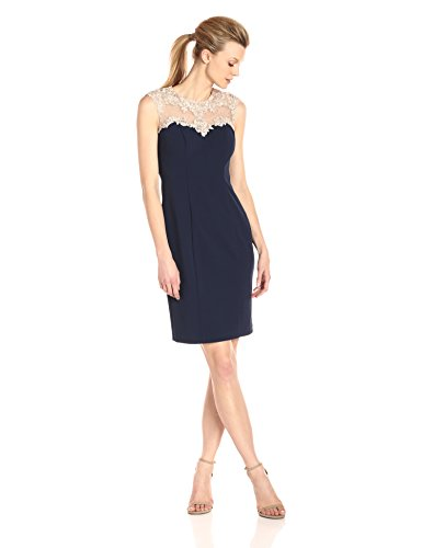 Alex Evenings Women#039s Short Shift Dress with Embroidered Bodica and Illusion Back
