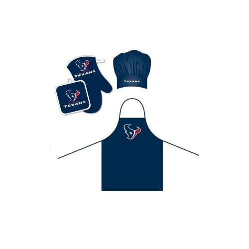 Pro Specialties Group Houston Texans NFL Barbeque Apron, Chef's Hat and Pot Holder Deluxe Set - Houston Texans Apron