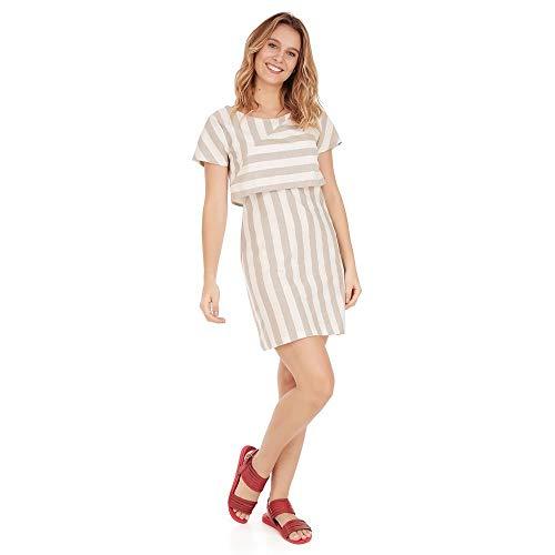 Vestido Listras - Kaki - Tamanho P