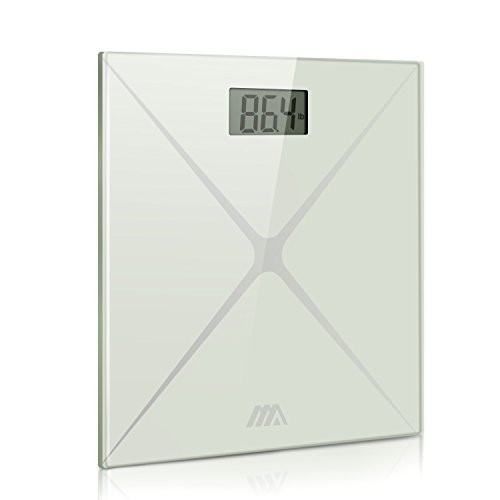 Adoric Digital Body Weight Bathroom Scale, Step-On Technology, Tempered Glass, Large LED Display, Easy to Read and Accurate (Glass Lithium Digital Scale)