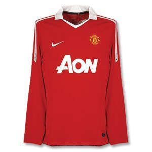 2010-11 Man Utd Home Nike Long Sleeve Football - Shirt Utd Football Man