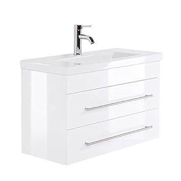 Top Badezimmermöbel Waschtisch 80cm mit Unterschrank in Hochglanz weiß HU15