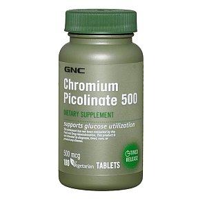 Gnc picolinate de chrome 500 comprimés végétariens, 180 Mcg Comte