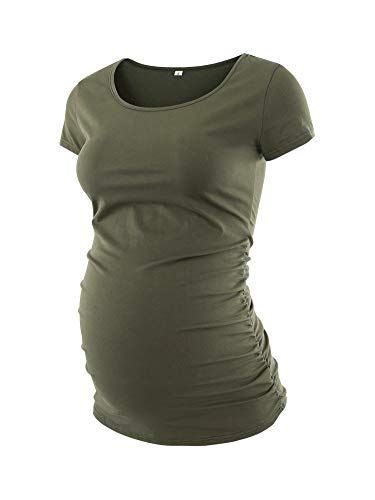Liu & Qu Womens Maternity Classic Side Ruched T-Shirt Tops Mama Pregnancy Clothes Olive S
