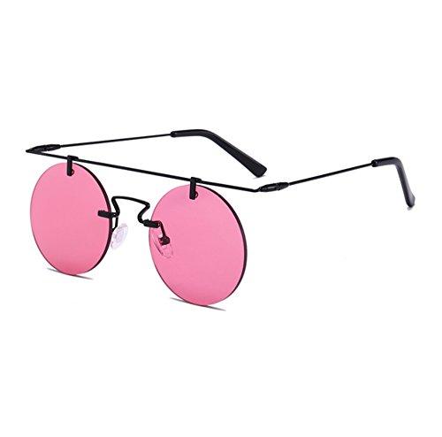 vendimia circulares Negro la sin de tradicionales Gafas Rojo Steampunk de no UV400 marco sol polarizadas qvxfU