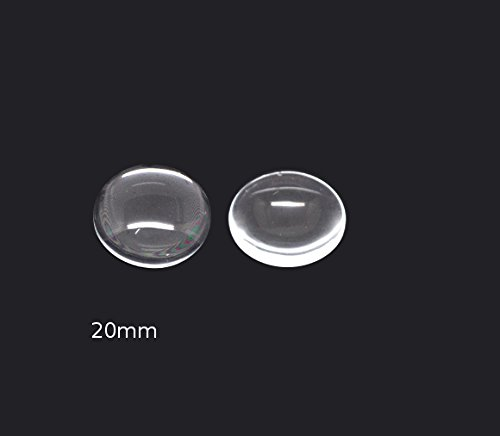 Bead Boutique 20x Cabochon Round Clear Glass Crystal Dome Tile Flat Back ~ 20mm