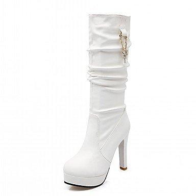 RTRY Zapatos De Mujer De Piel Sintética Pu Novedad Moda Otoño Invierno Confort Botas Botas Stiletto Talón Puntera Redonda Mid-Calf Botas Imitación Perla Para US2.5 / EU32 / UK1 / CN31