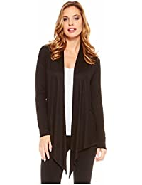 Women's Light Weight Open Front Drape Cardigan Sweater Made in USA