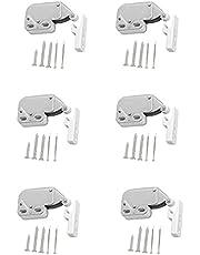 6 StukkenMini Klink, Automatische Lente Catch, Mini Touch Catch Latch, voor Het Openen van Ramen, Schuren, Poorten, Kastdeuren(Zilver)