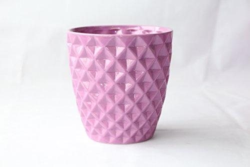Better-Way Diamond Round Ceramic Orchid Flower Container Succulent Planter Plant Pot Windowsill Contemporary Home Decoration (6 inch, Light Purple)