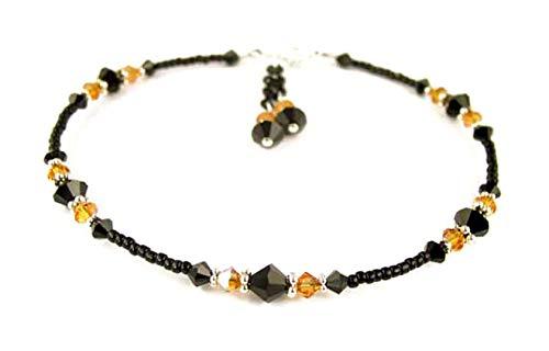 - DAMALI Yellow Topaz Anklets for Women, November Birthstone Jewelry, Handmade Beaded Swarovski Crystal Ankle Bracelets Ankle Bracelets